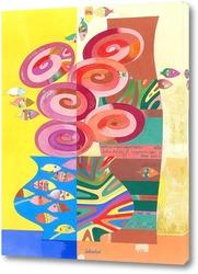 Постер Натюрморт с рыбками.