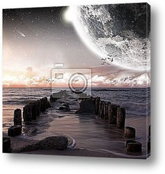 Постер Planet landscape view from a beach