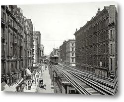 Постер Уобаш авеню, Чикаго, 1900