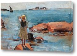 Дети играющие на берегу