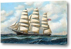 """Постер Корабль """"Молодая Америка"""" в море"""