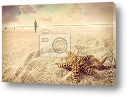 Постер Морская звезда на песке на пляже