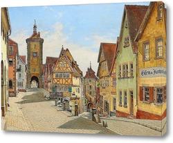 Постер Вид на улицу из Ротенбурга-на-Таубере