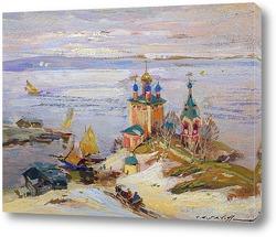 Картина Монастырь у реки