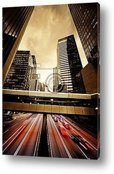Постер Fast moving cars at night