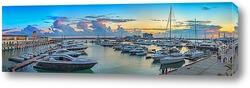 Постер Вечерняя панорама яхтенной гавани морпорта Сочи