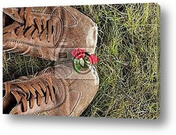 Old boot in grass