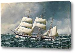 Постер Норвежский корабль в море на сниженных парусах