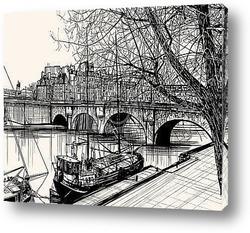 Постер Париж - Иль де ла сите новый мост