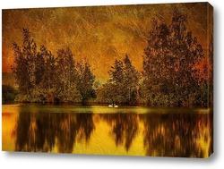Постер Озеро в вечернее время