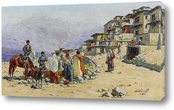 Всадники и люди в городские ворота