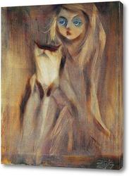 Картина Девочка с котиком