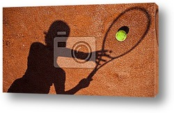 Постер Shadow of a tennis player in action on a tennis court