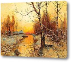 Постер Вечерний пейзаж с крестьянскими домами