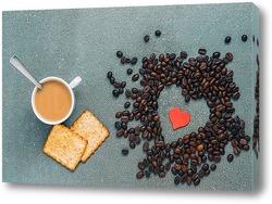 Постер Завтрак для влюбленных . Сердце из кофе.