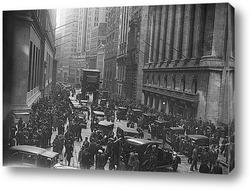 Толпа на Уолл Стритт после краха фондового рынка в 1929г.