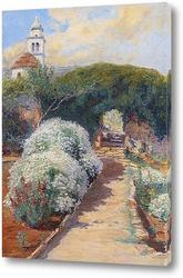 Постер цветущий монастырский сад