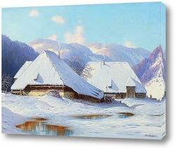 Два дома в Шварцвальд, в зимний период.