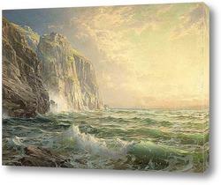 Скалистый утёс с бурным морем Корнуолл