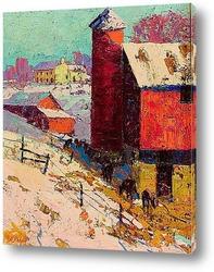 Картина Красный амбар зимой