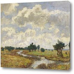 Картина Солнечно-облачное небо через болотистые луга