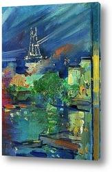 Картина Эйфелева башня ночью
