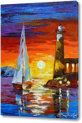 Картина Парусник и маяк