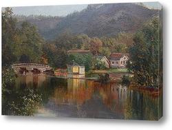 Озеро.Пейзаж с мостом