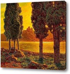 Картина Закат солнца. 1921
