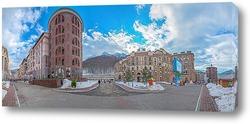 Постер «Горки Город» нижний. Вечерняя панорама ул. Горная Карусель. Красная Поляна