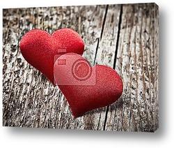 Постер Два красных сердца