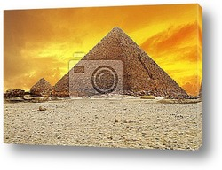Great Sphinx and the Pyramids at sunset