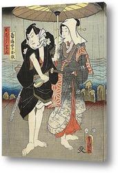 Постер Мужчина и женщина в дождь зонтик