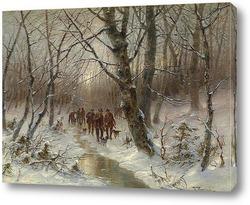 Олени в зимний пейзаж