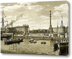 Картина Старая Барселона. Порт