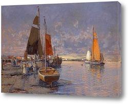 Рыбаки на пирсе на закате