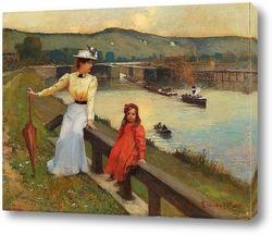 Постер Мать и дочь на берегу реки