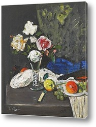 Натюрморт с розами и фруктами