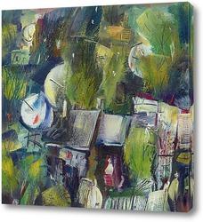 Картина пейзаж с антеннами и голубями