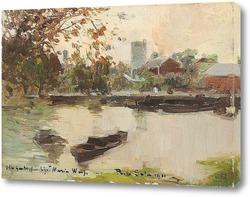 Пейзаж с прудом и лодками