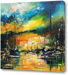 Картина Закат в гавани