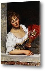 Картина художника 19-20 веков, портрет девушки