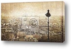 Постер Vue sur Paris depuis Montmartre, vintage - France