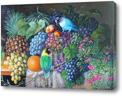 Постер Натюрморт с попугайчиками, ананасом и виноградом.