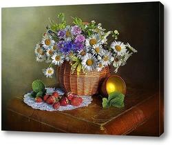 Картина Букет ромашек и клубника