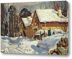Картина Зимний пейзаж с домами