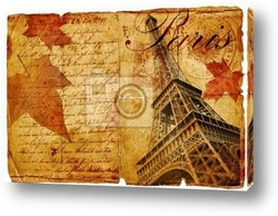 Постер Autumn in Paris- vintage letter