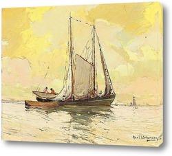 Картина Побережье Мексиканского залива с парусниками