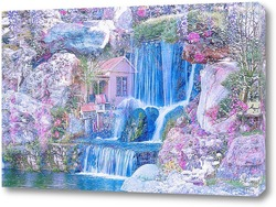 Постер Водопад возле домика