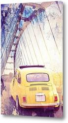 Постер Желтая ретро машина